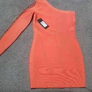 Guess Marciano peachy orange bandage dress